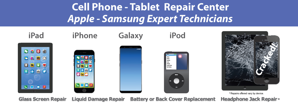 Tablet Computer Repair San Francisco, Apple and Samsung Cell Phone - Tablet Repair Services Francisco. Expert Apple and Samsung Techs. Samsung Galaxy S Repair. Apple iPad, iPhone, iPod Repair. Glass Screen Repair, Liquid Damage Repair, Battery or Back Cover Replacement, Headphone Jack Repair.
